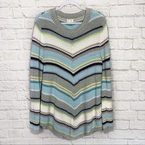 Caslon Chevron Chunky Knit Cotton Crewneck Sweater